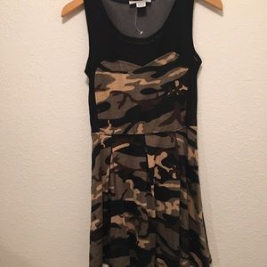 NWT Swoon Camouflaged Dress with Mesh Blacking, M